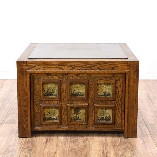 Oak Carved Panel End Table