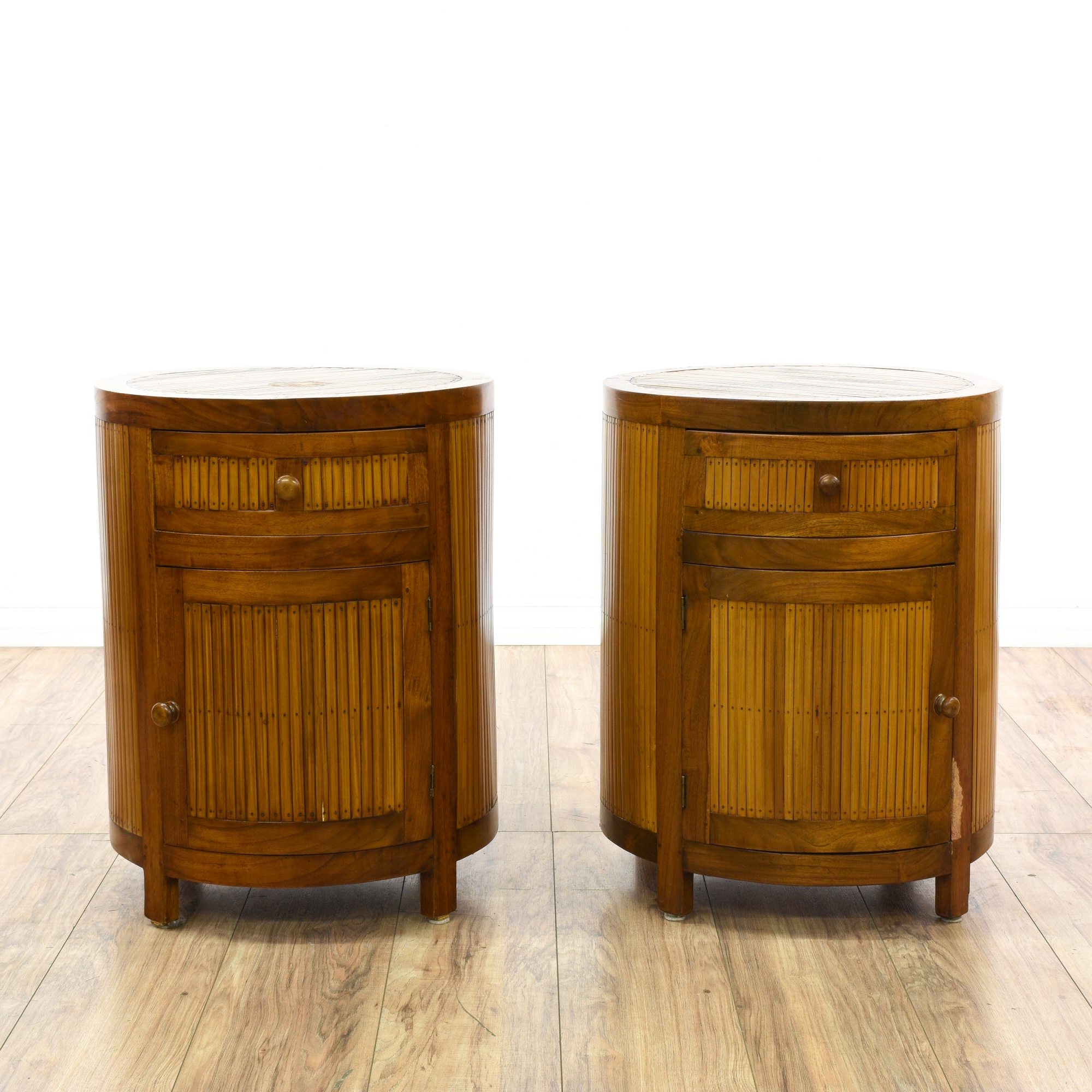 Pair Of Hawaiian Bamboo Nightstands Loveseat Vintage