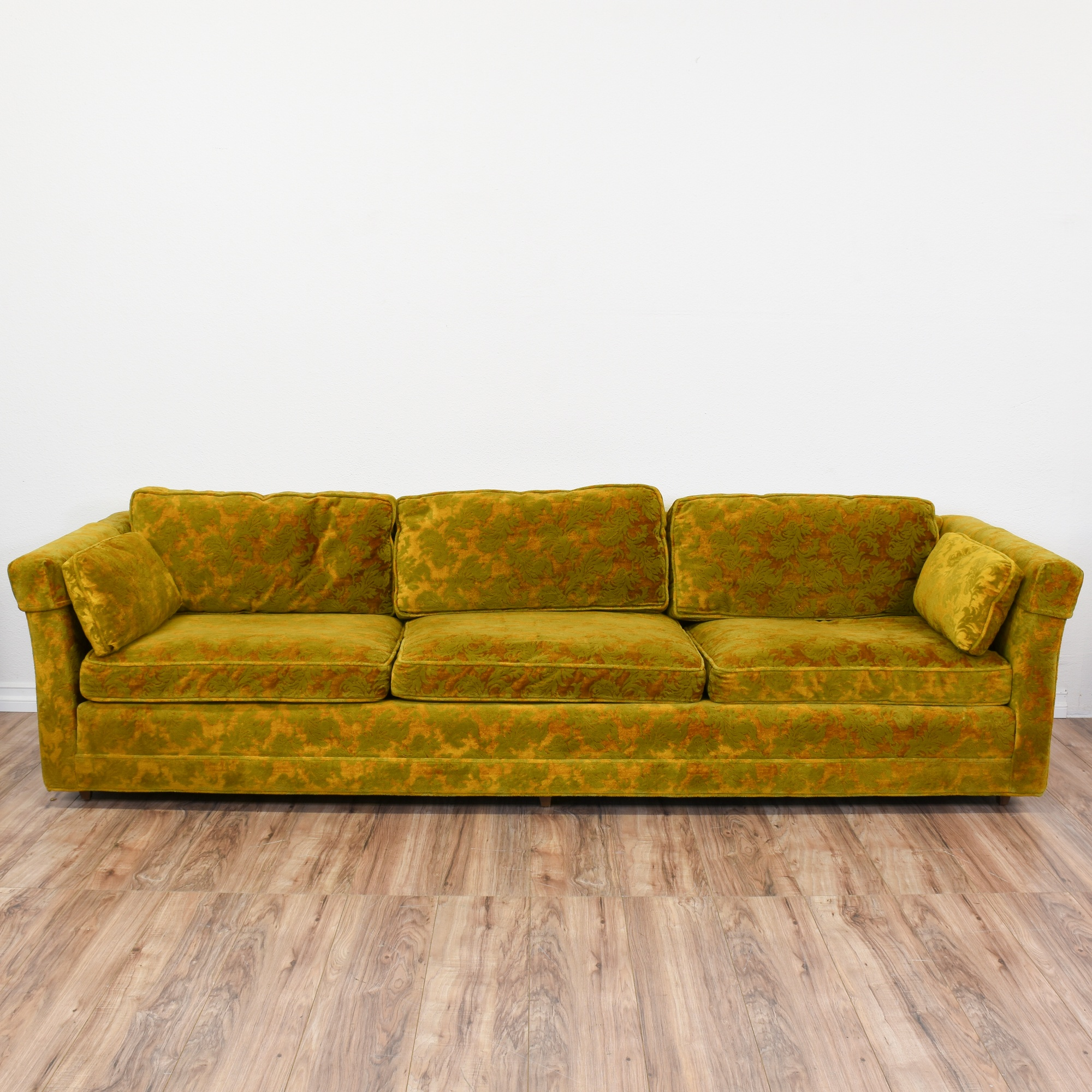 Long Damask Voided Velvet Mustard Yellow Sofa | Loveseat Vintage Furniture  San Diego