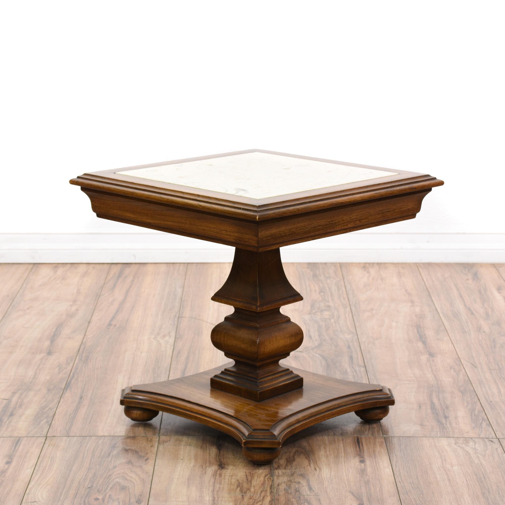 Marble top carved oak pedestal end table loveseat