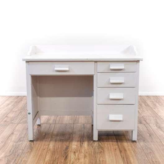 White Shabby Chic 5 Drawer Desk