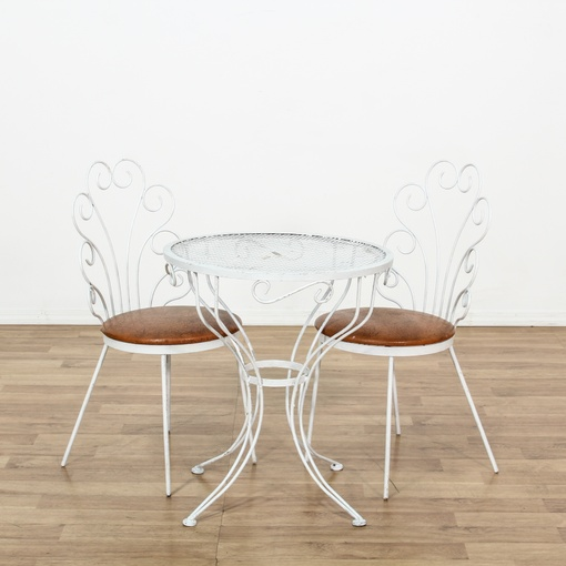 White Curved Metal Patio Dining Set W 2 Chairs Loveseat