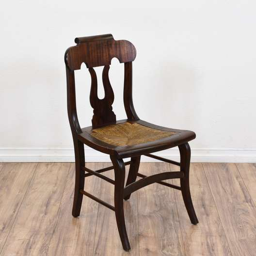 Mahogany Carved Back Chair w/ Woven Seat