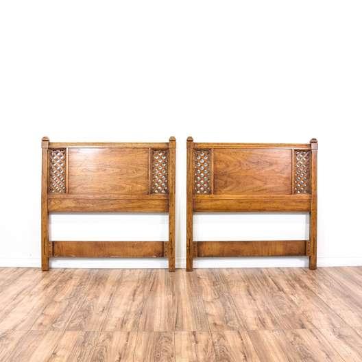 Pair of Mid Century Oak Twin Sized Headboards