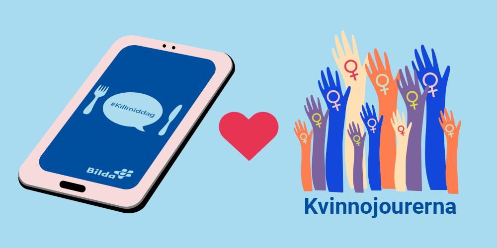 Grafisk bild med tre illustrationer, en mobil med Killmiddag loggan på skärmen, ett hjärta och händer med kvinnosymbolen i händerna och texten Kvinnojourerna.