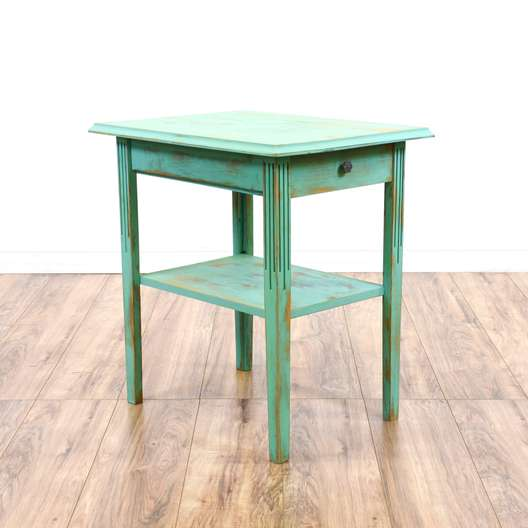 Teal Shabby Chic 2 Tiered End Table