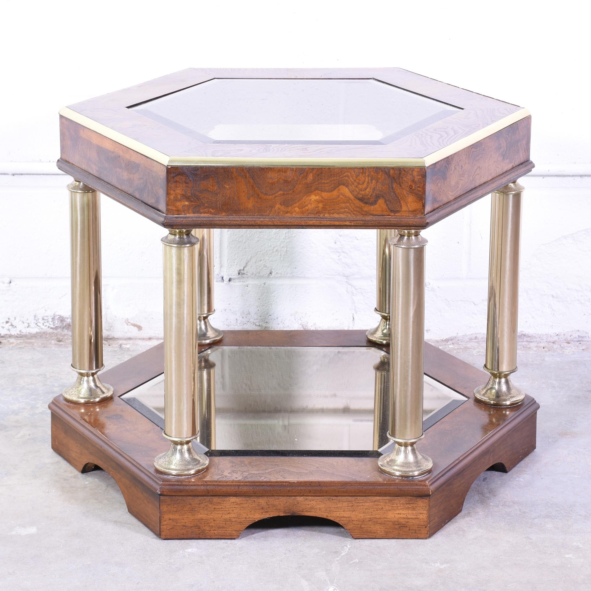 wood hexagon end table w glass top loveseat vintage furniture san diego los angeles. Black Bedroom Furniture Sets. Home Design Ideas