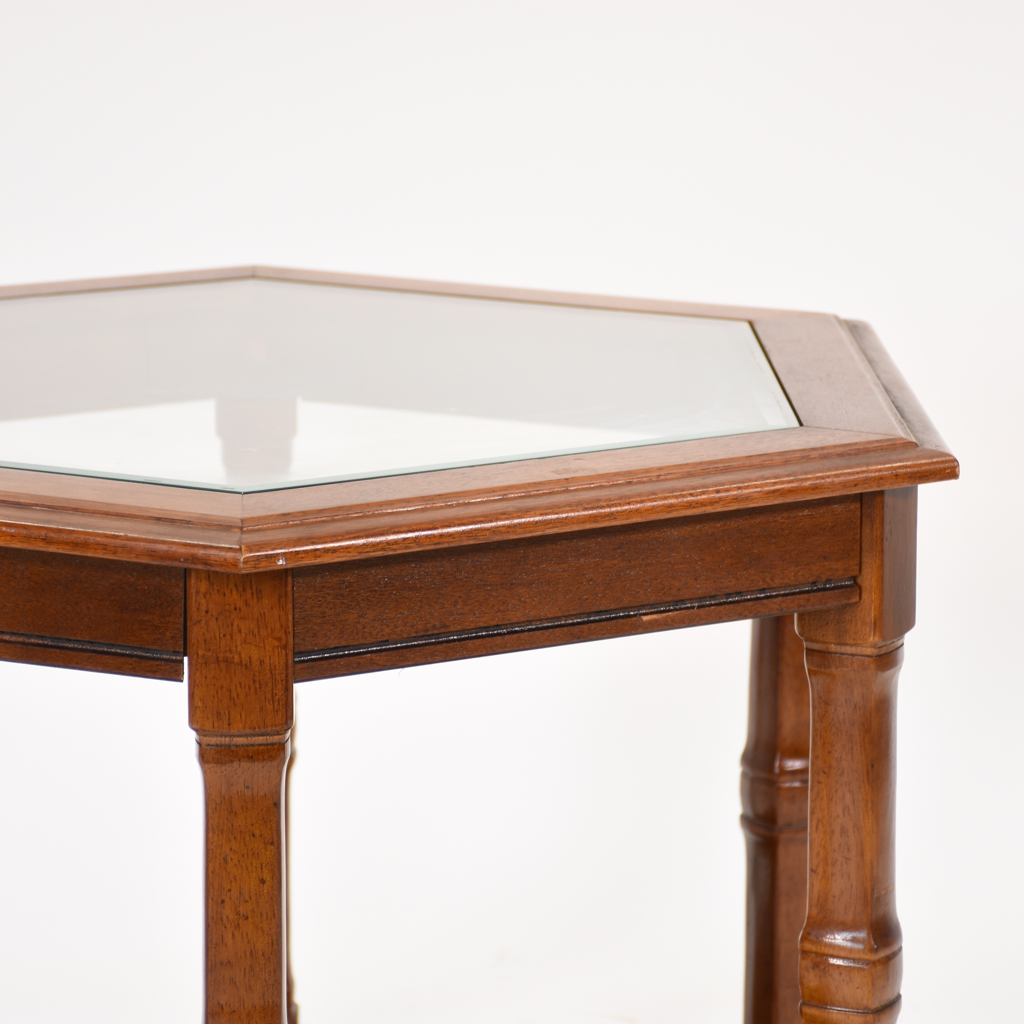 Glass Wooden Side Tables: Hexagon Wood Side Table W/ Glass And Rattan