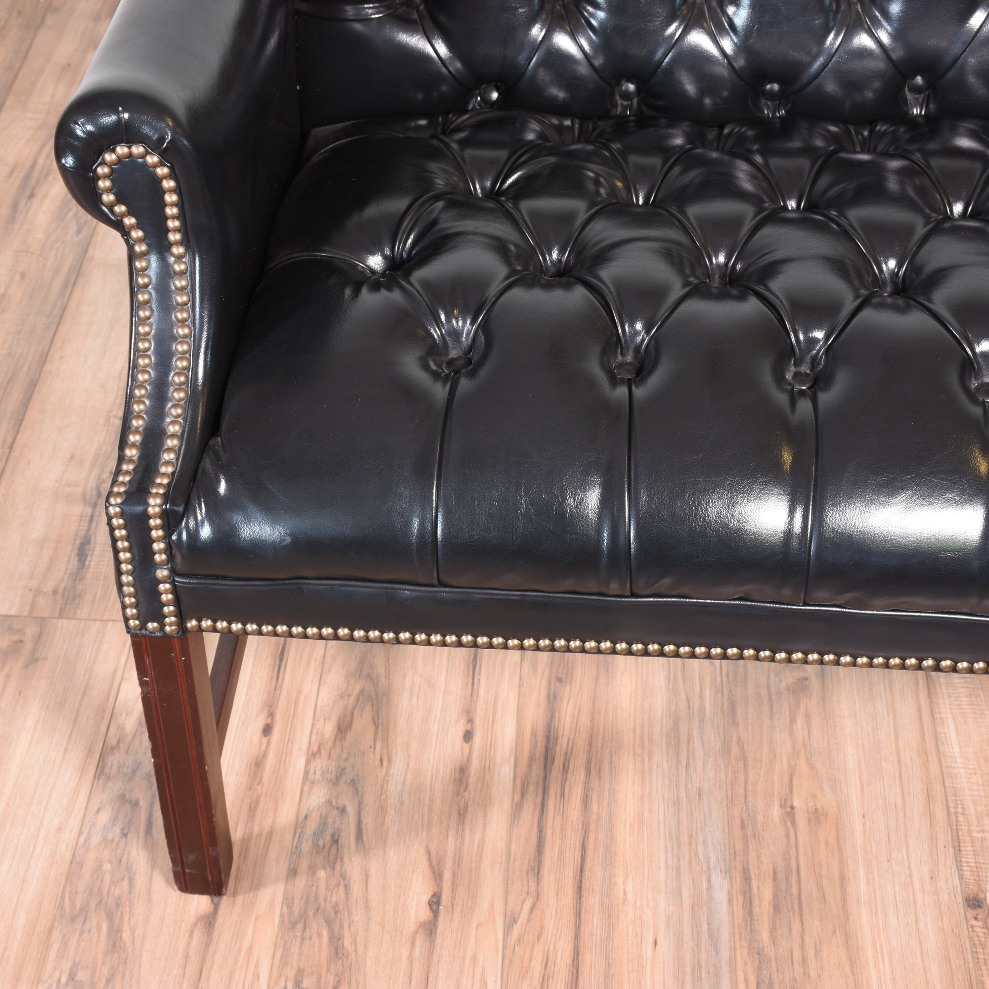 Black Faux Leather Tufted Sofa Loveseat Vintage
