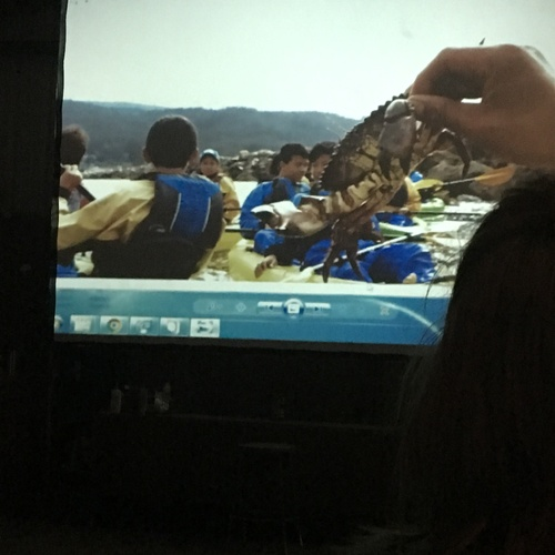 Some of the campers and the counselor holding a rock crab