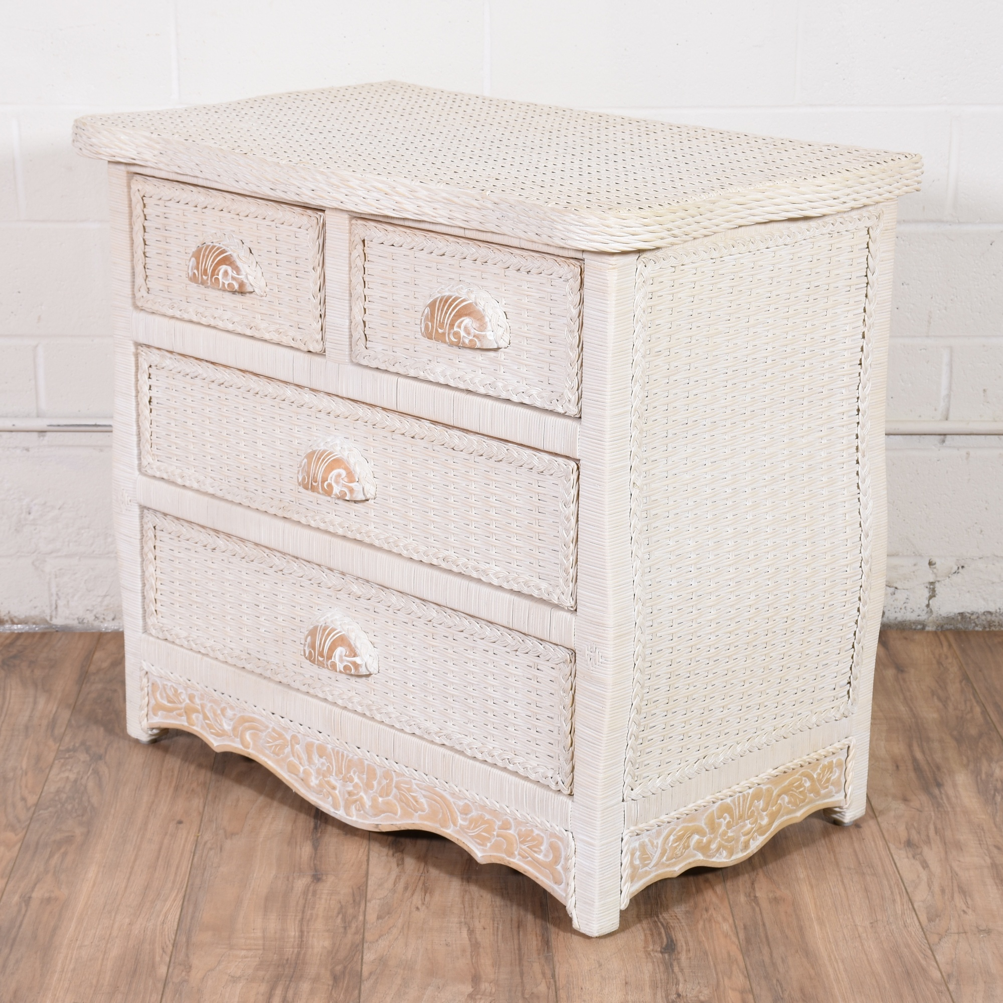Small Quot Pier One Quot White Wicker Chest Of Drawers Loveseat