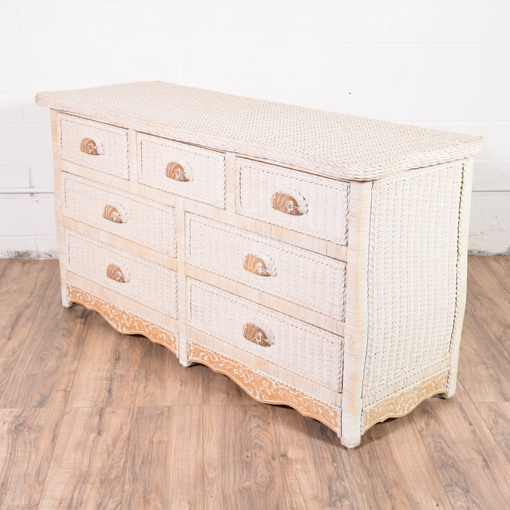 Long pier one white wicker dresser loveseat vintage - Pier one white wicker bedroom furniture ...