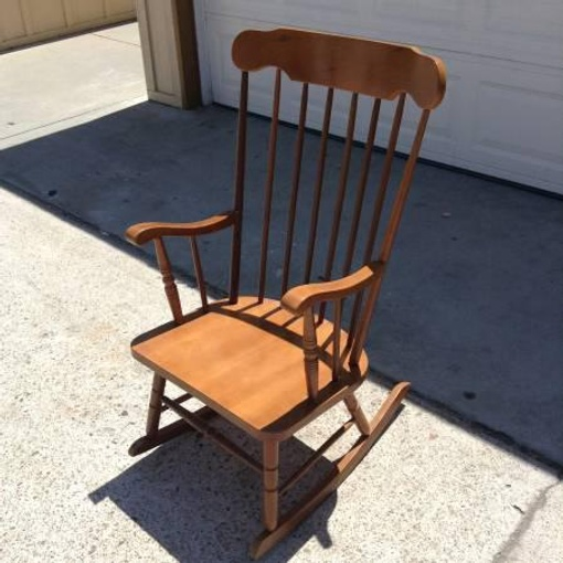 Solid Wood Spindleback Rocking Chair Loveseat Vintage