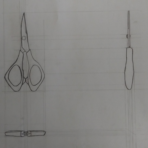 This is one of my drawings done at the studio. The goal is to show how the scissors look from different perspectives.