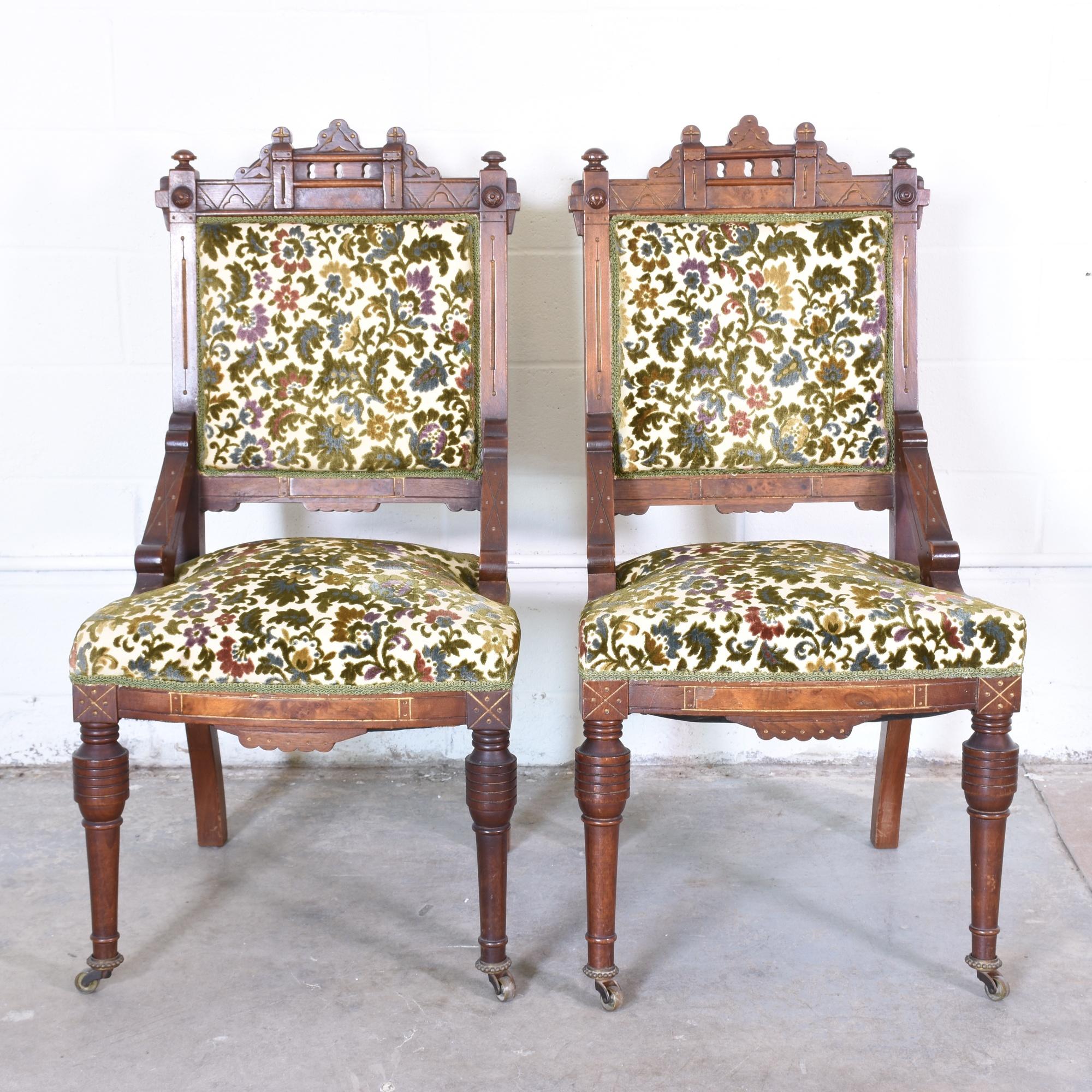 Pair Of Eastlake Chairs In Floral Upholstery Loveseat Vintage - Furniture upholstery san diego