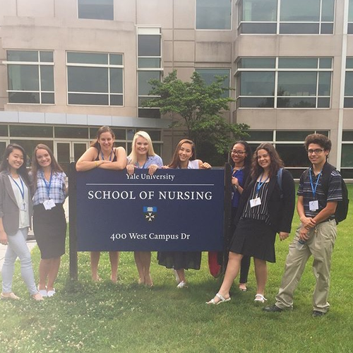 Here I am in the Yale School of Nursing sign with my amazing group of faboulous friends.