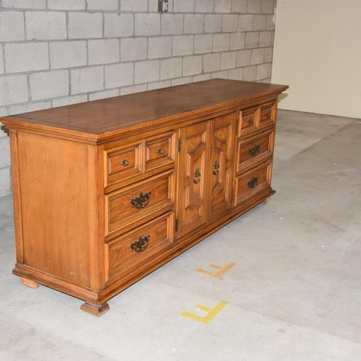 Long Vintage Solid Oak 9-Drawer Dresser | Loveseat Vintage ...
