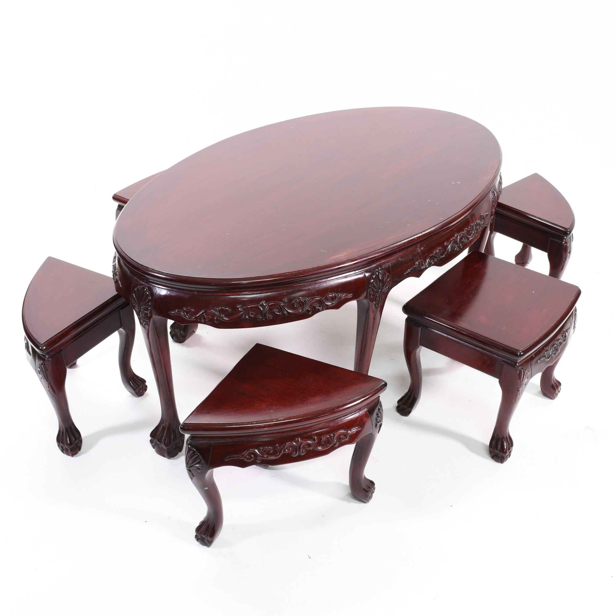 Japanese tea table furniture - Japanese Rosewood Tea Table W 6 Stools Loveseat Vintage Furniture San Diego Los Angeles