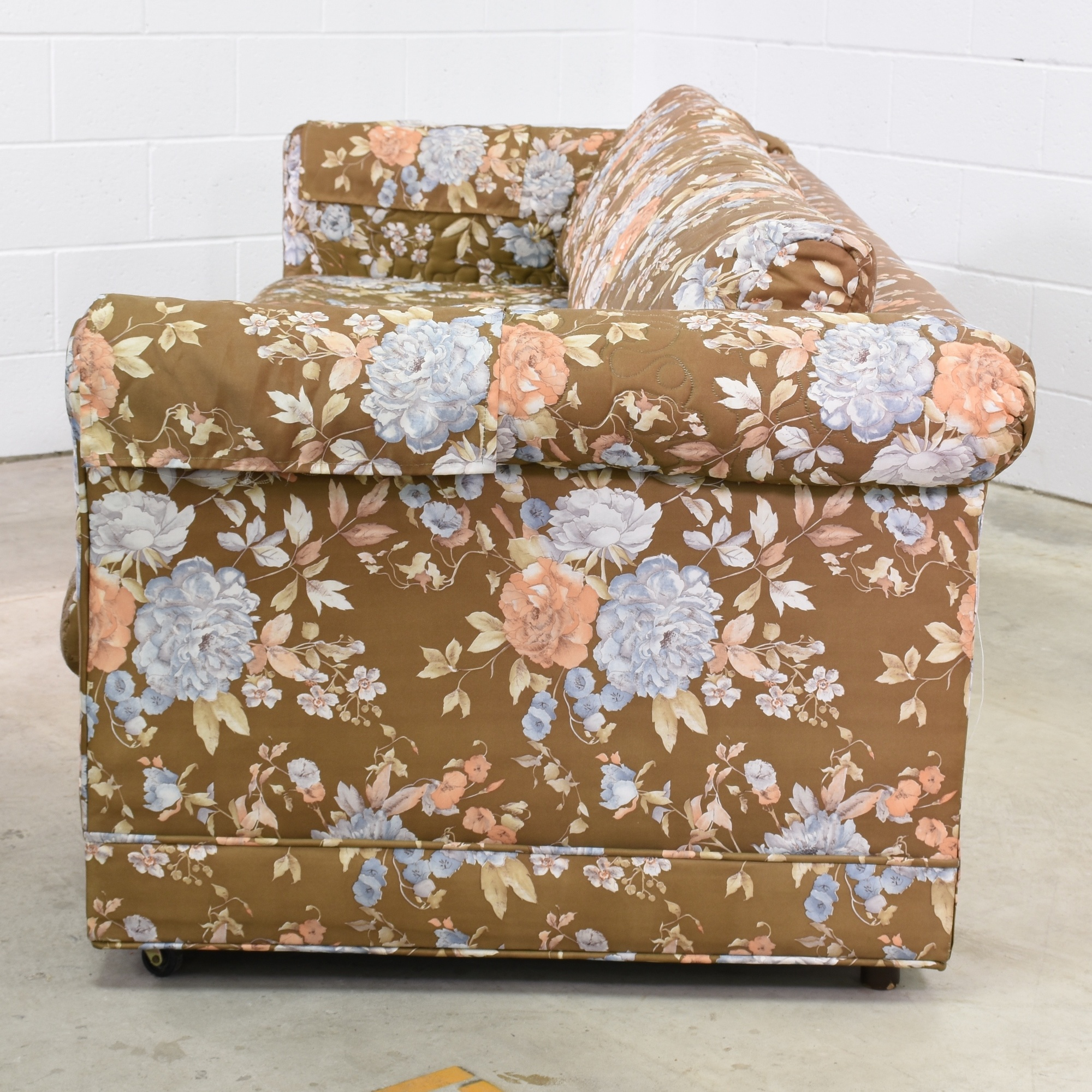 Long Retro Sofa In Brown Floral Print Loveseat Vintage