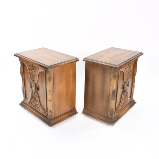 Pair Of Vintage Solid Wood Nightstands Loveseat Vintage
