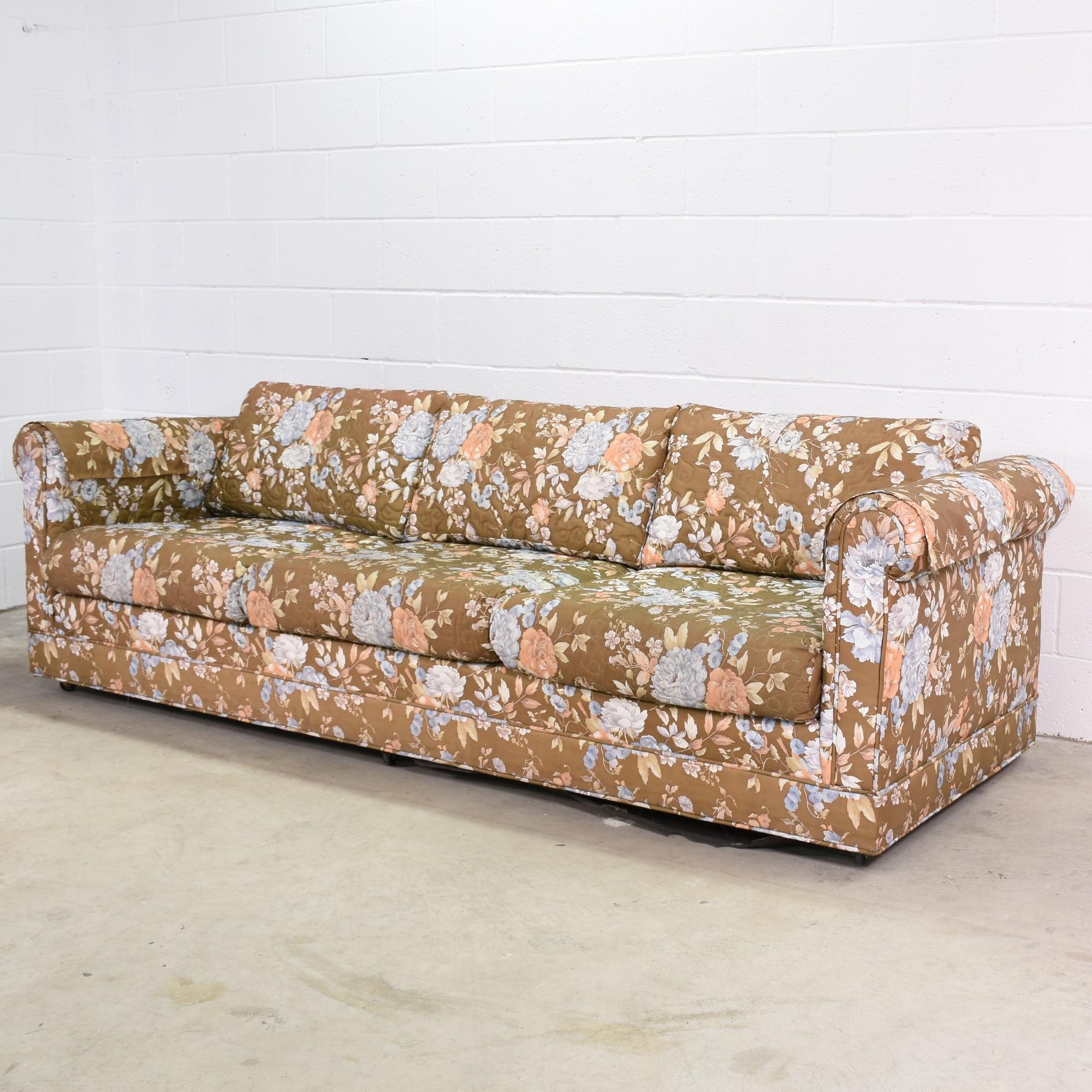 Long Retro Sofa In Brown Floral Print Loveseat Vintage Furniture San Diego Los Angeles