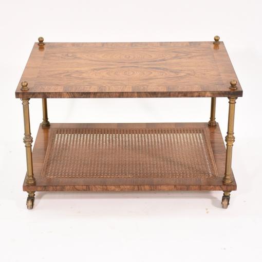 rolling media cart coffee table w cane shelf loveseat. Black Bedroom Furniture Sets. Home Design Ideas