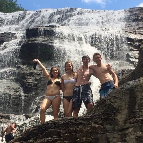 Waterfall climbing at Ithaca Falls