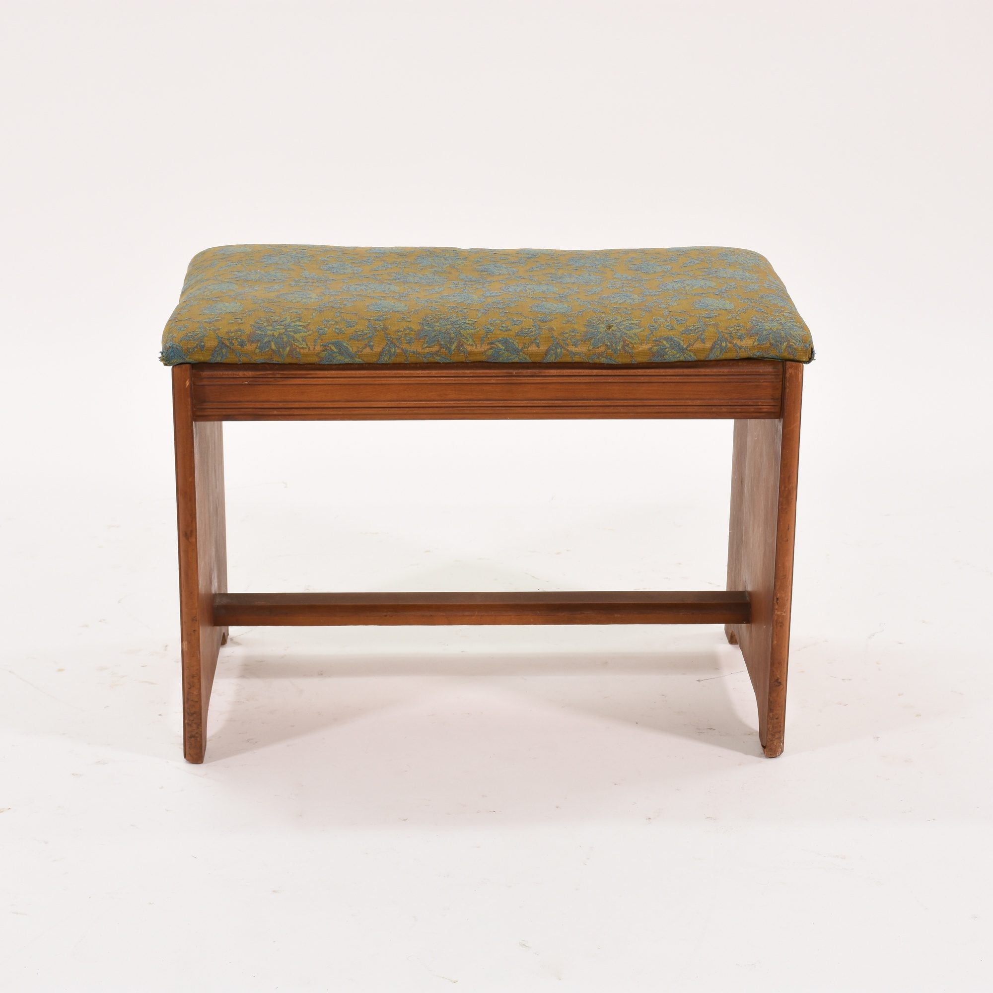Nantucket Storage Bench Cottage Style Solid Wood 15: Antique Solid Wood Bench Upholstered In Floral