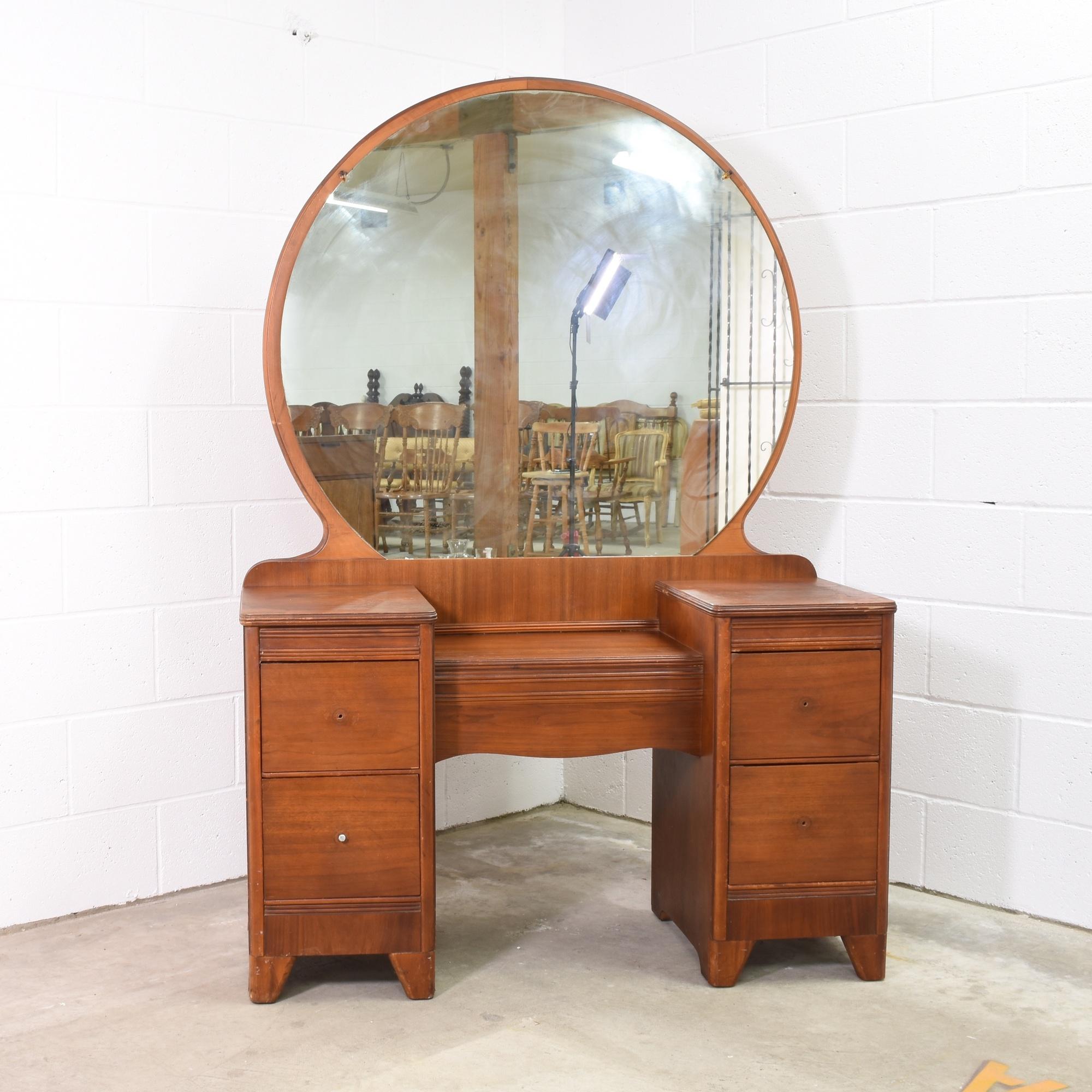 Antique art deco vanity dresser w round mirror loveseat for Antique vanity with round mirror