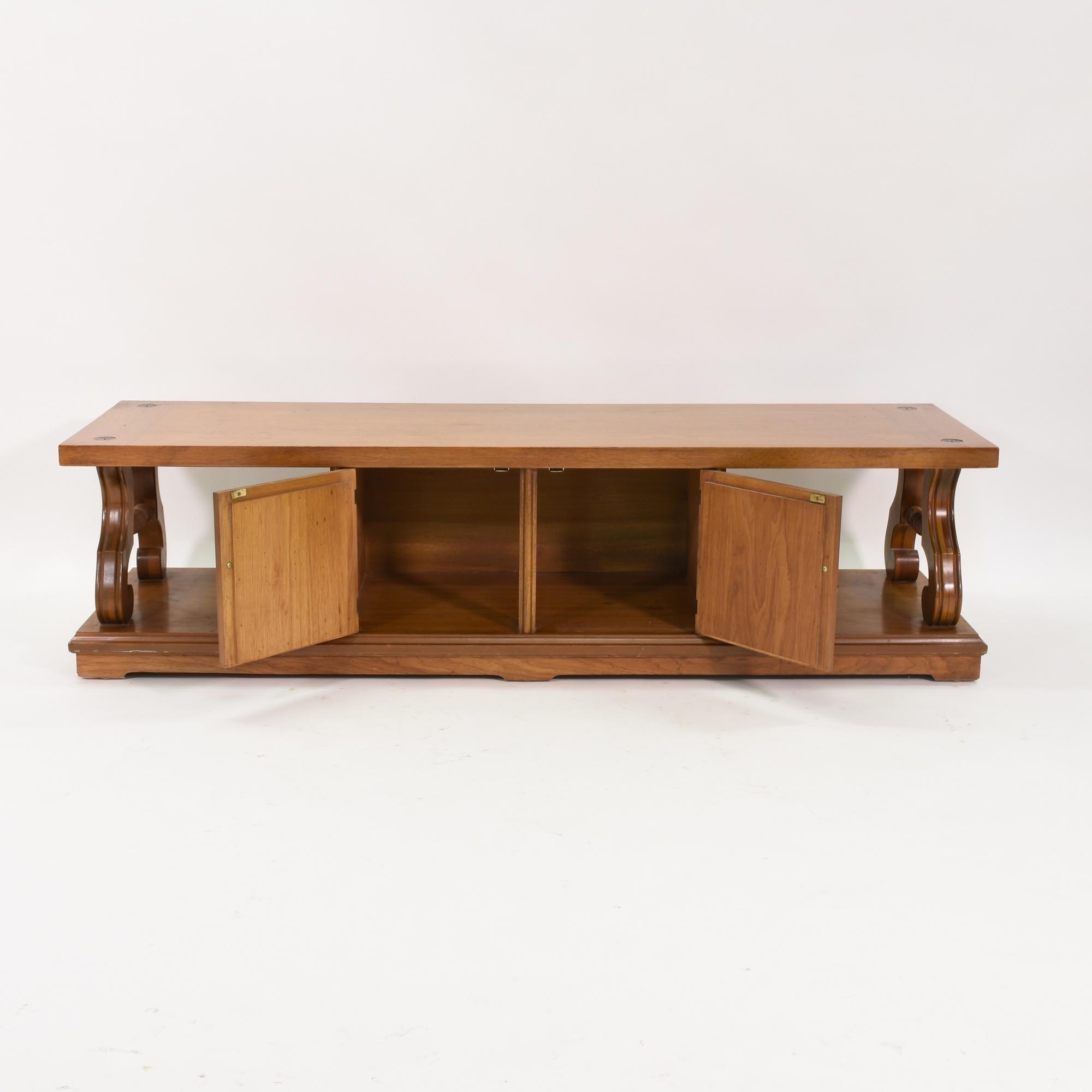 Retro Coffee Table W Two Doors In Solid Wood Loveseat Vintage Furniture San Diego Los Angeles