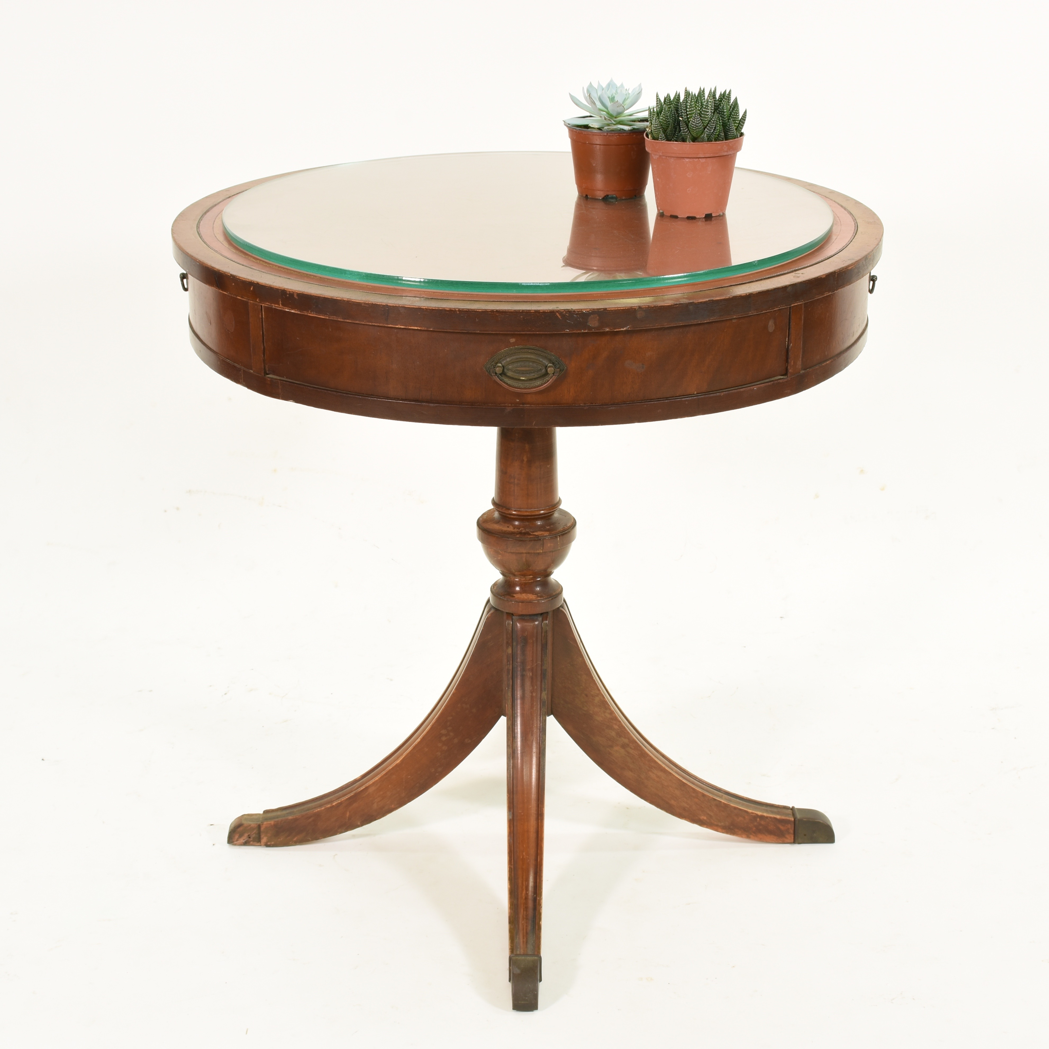 Antique Round Leather Top Table Sesigncorp