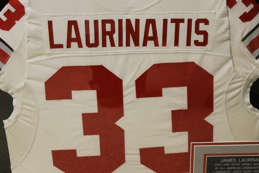 on sale f88e6 105a6 JAMES LAURINAITIS 2007 GAME WORN OHIO STATE FOOTBALL JERSEY ...