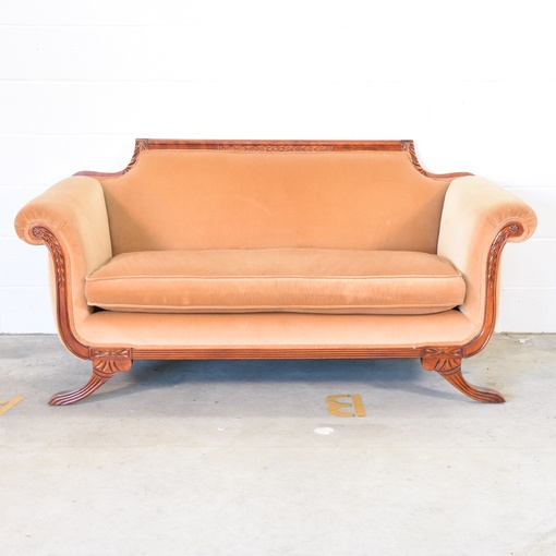 Antique Peach Wood Sofa W Curved Legs And Arms Loveseat