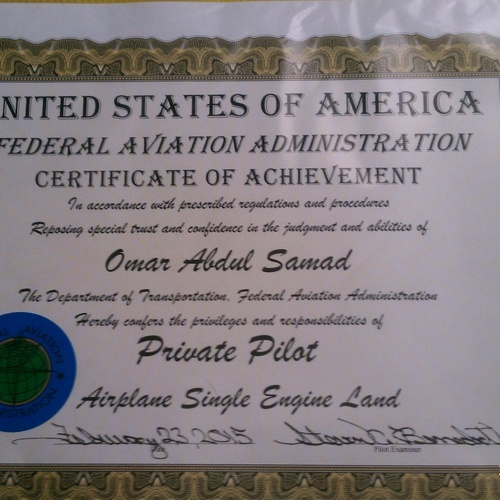 Omar's certificate for receiving his pilot's license
