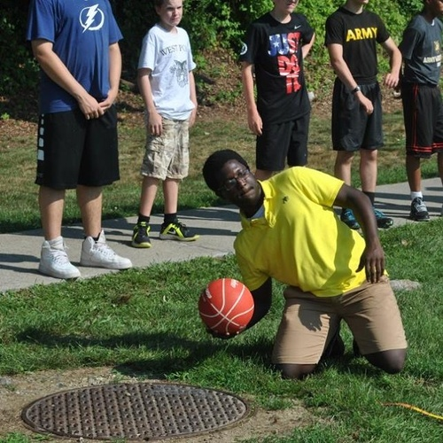 Me being involved the basketball throwing event