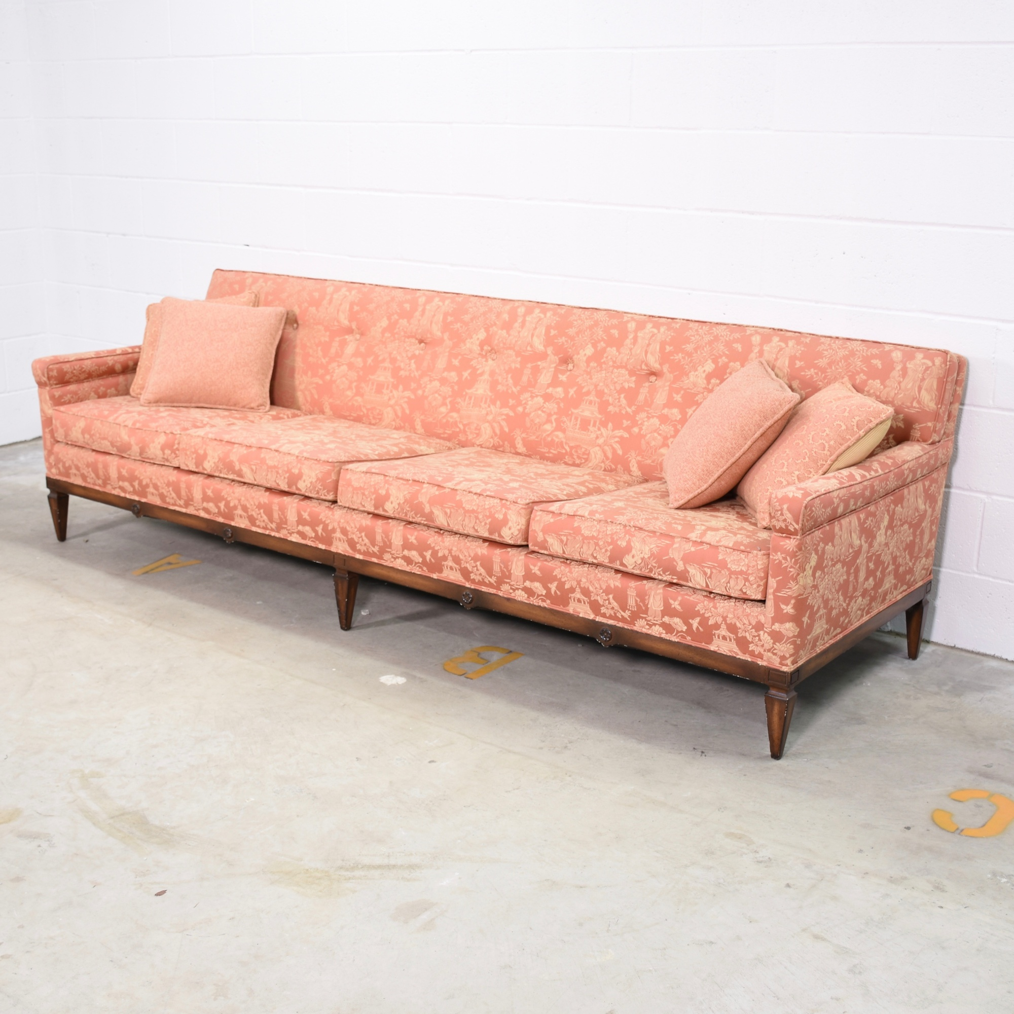 Red gold oriental patterned sofa loveseat vintage for Oriental furniture los angeles