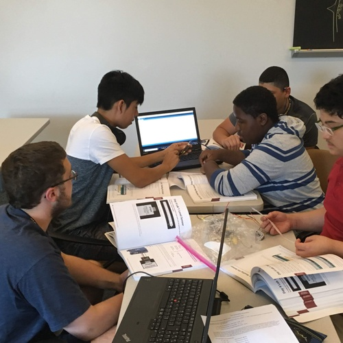 This is my group and I programming an Arduino(a piece of computer hardware) so that when it's connected to a tool called eTape, which can measure water, it will show how much water is in the container.