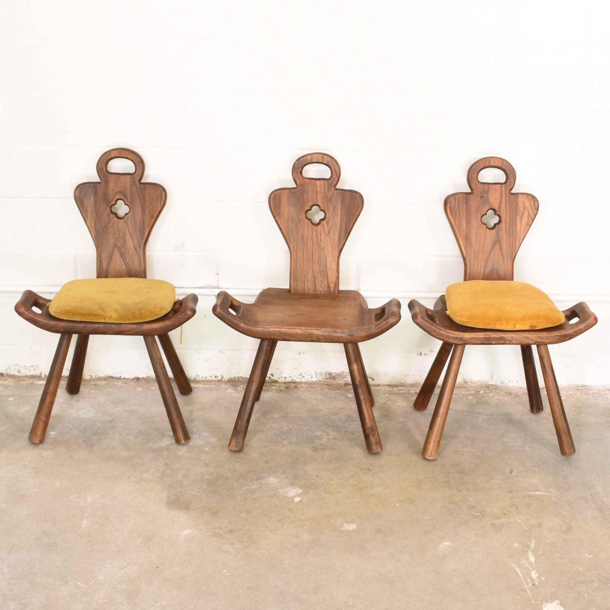 Antique birthing chair - Set Of 3 Primitive Antique Birthing Chairs From Sp Loveseat Vintage Furniture San Diego Los Angeles
