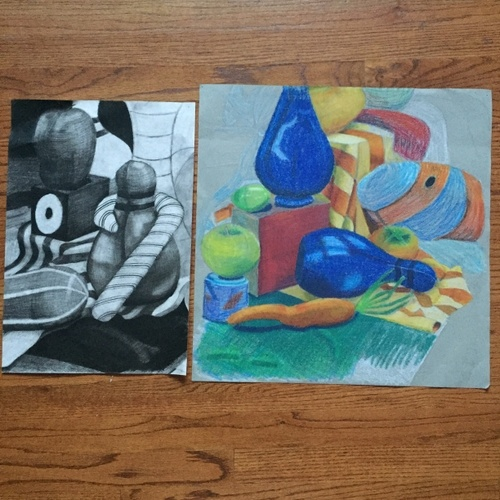From left to right: Still life (Charcoal), Still life (oil pastels)