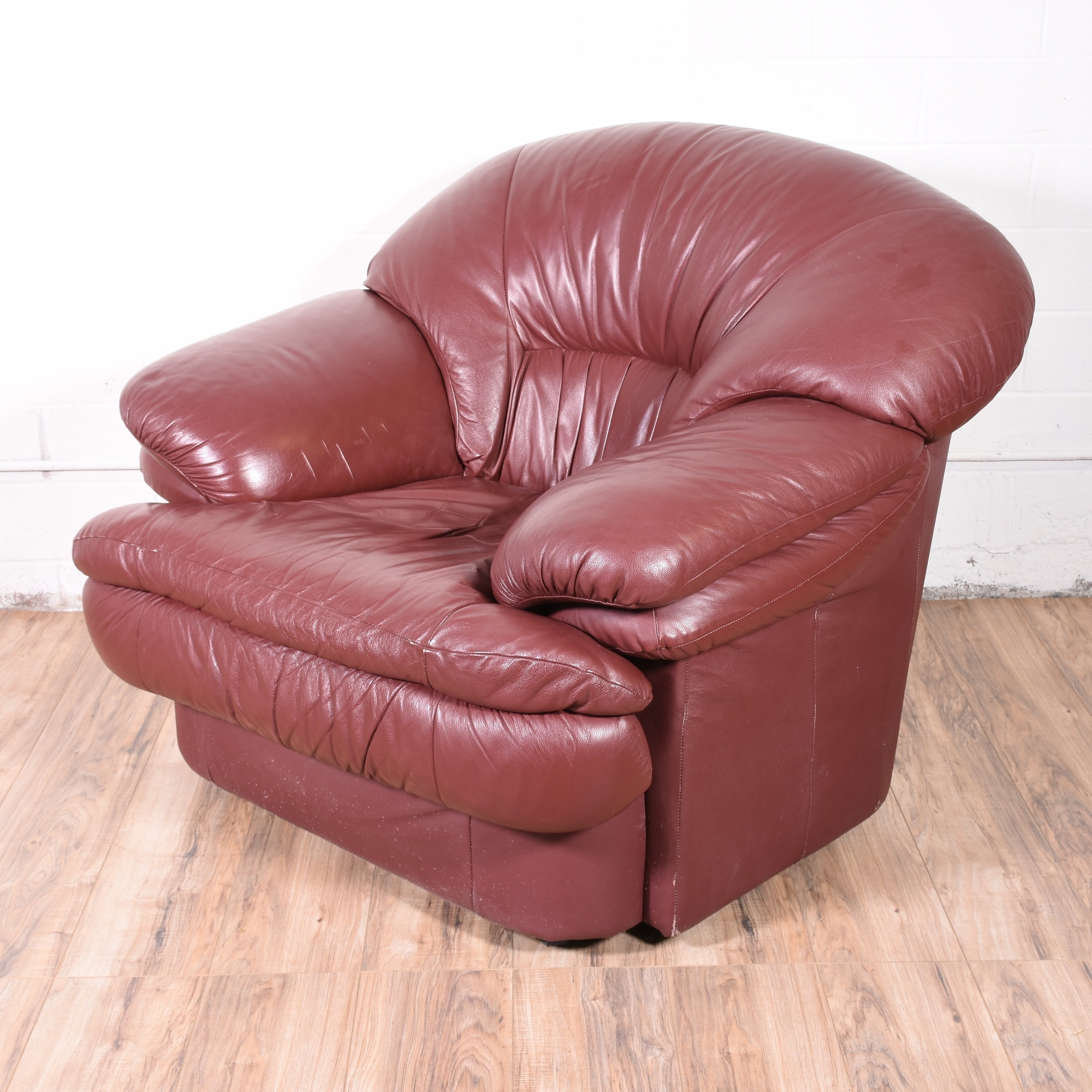 Leather Burgundy Armchair Loveseat Vintage Furniture San Diego Los Angeles