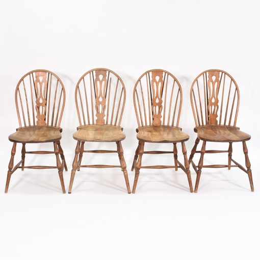 Set Of 4 Vintage Solid Wood Dining Chairs Loveseat