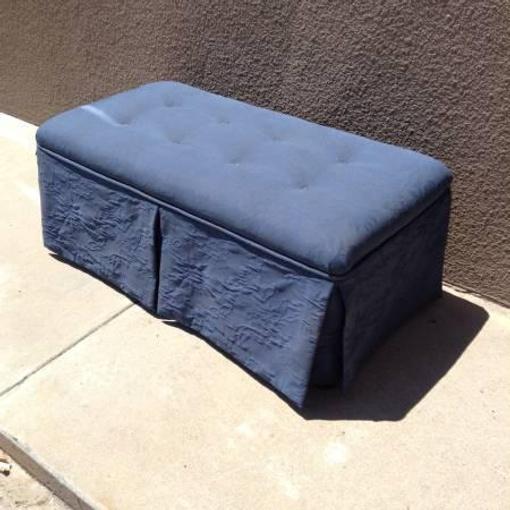 Blue Upholstered Storage Bench Loveseat Vintage Furniture San Diego Los Angeles