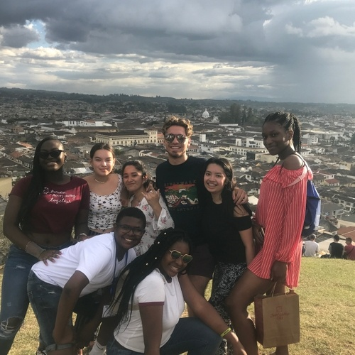 This is my group and I on top of a hill in Popayan