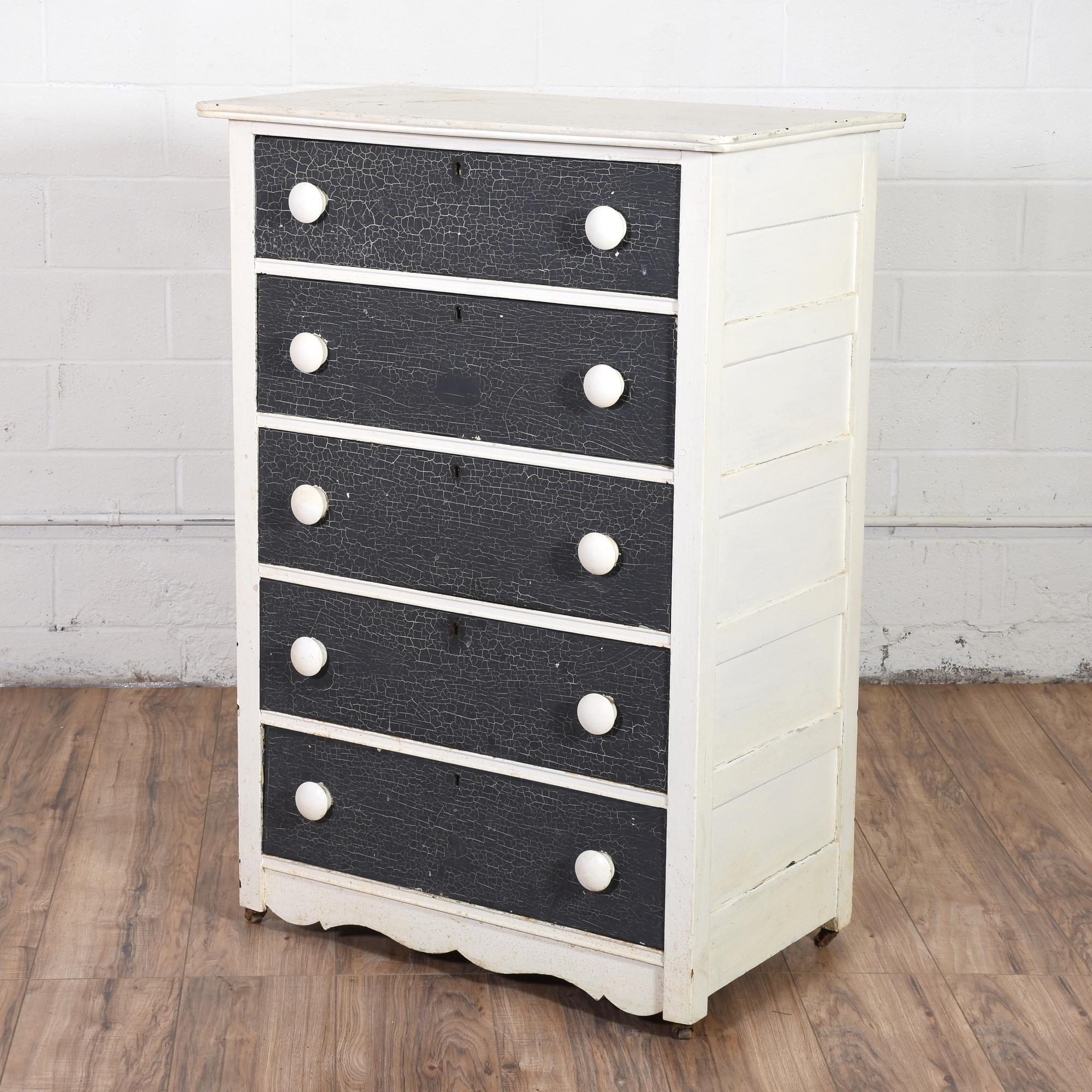 Shabby Chic Navy and White Dresser | Loveseat Vintage Furniture San Diego & Los Angeles