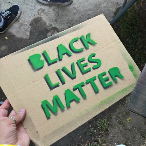 Black Lives Matter rally and march signs