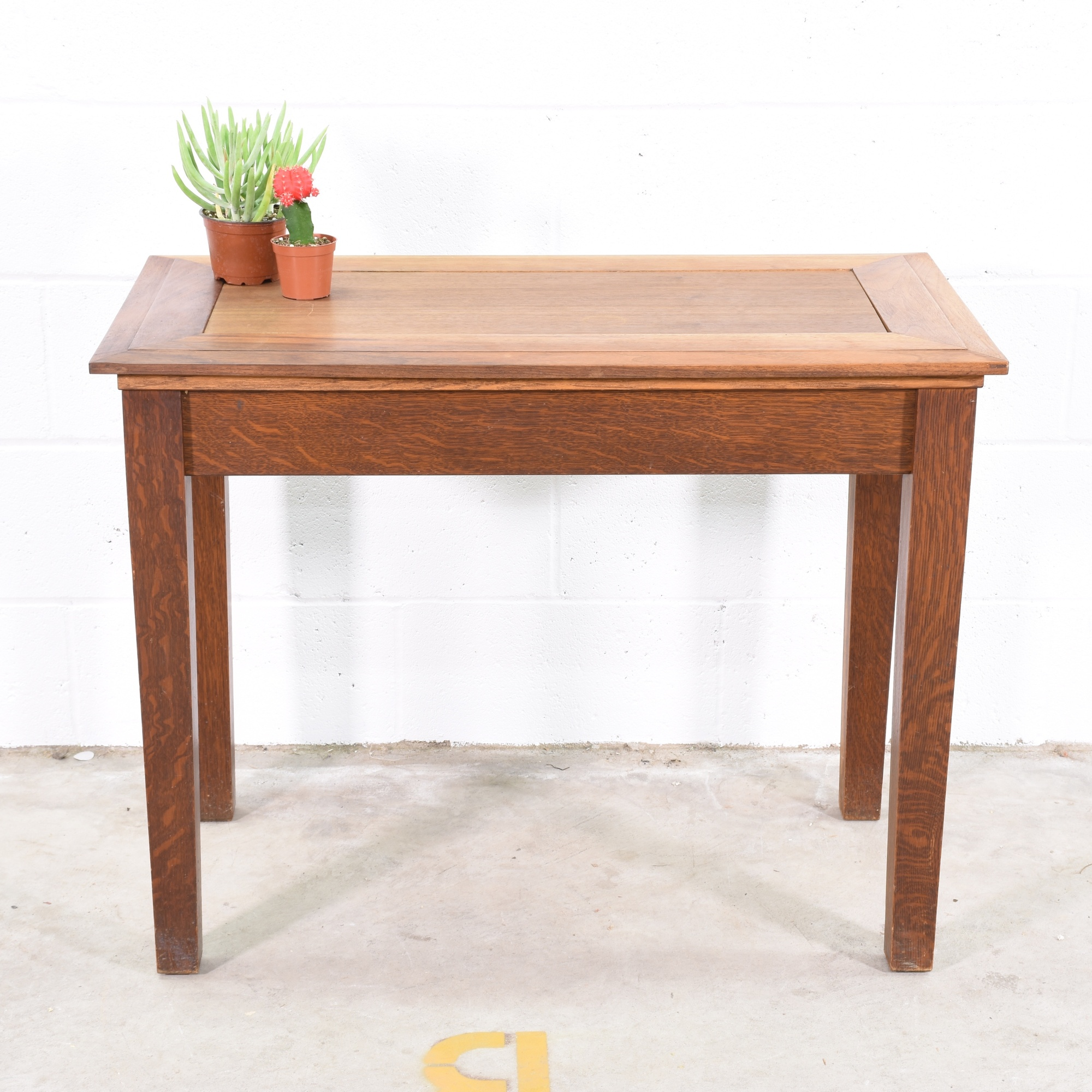 Wood Console Table W/ Glass Inlay