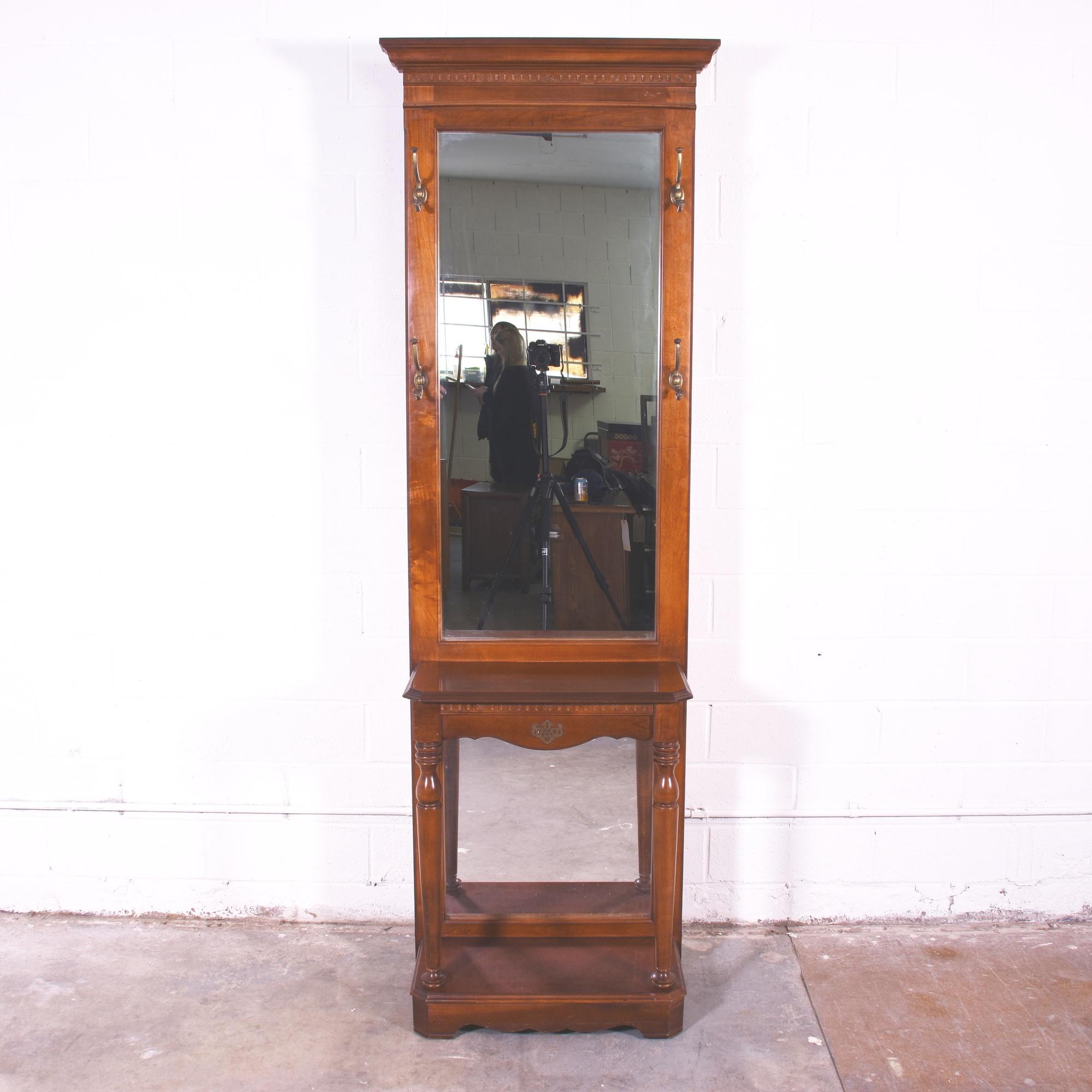 Solid Wood Hall Tree W Mirror Loveseat Vintage