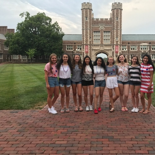 In front of the famous Brookings Hall at WashU