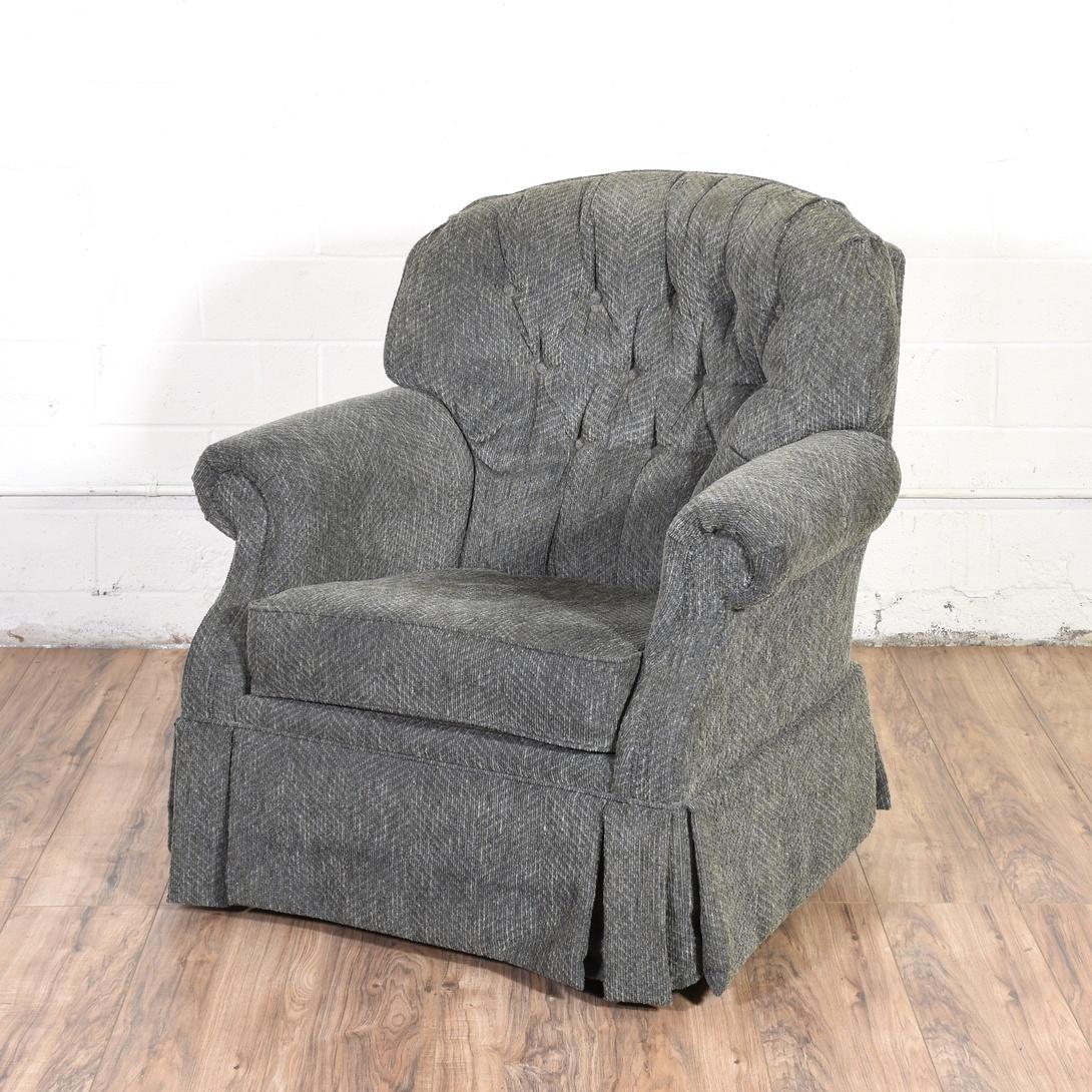 Gray Swivel Tufted Rocker Armchair Loveseat Vintage Furniture San Diego Los Angeles