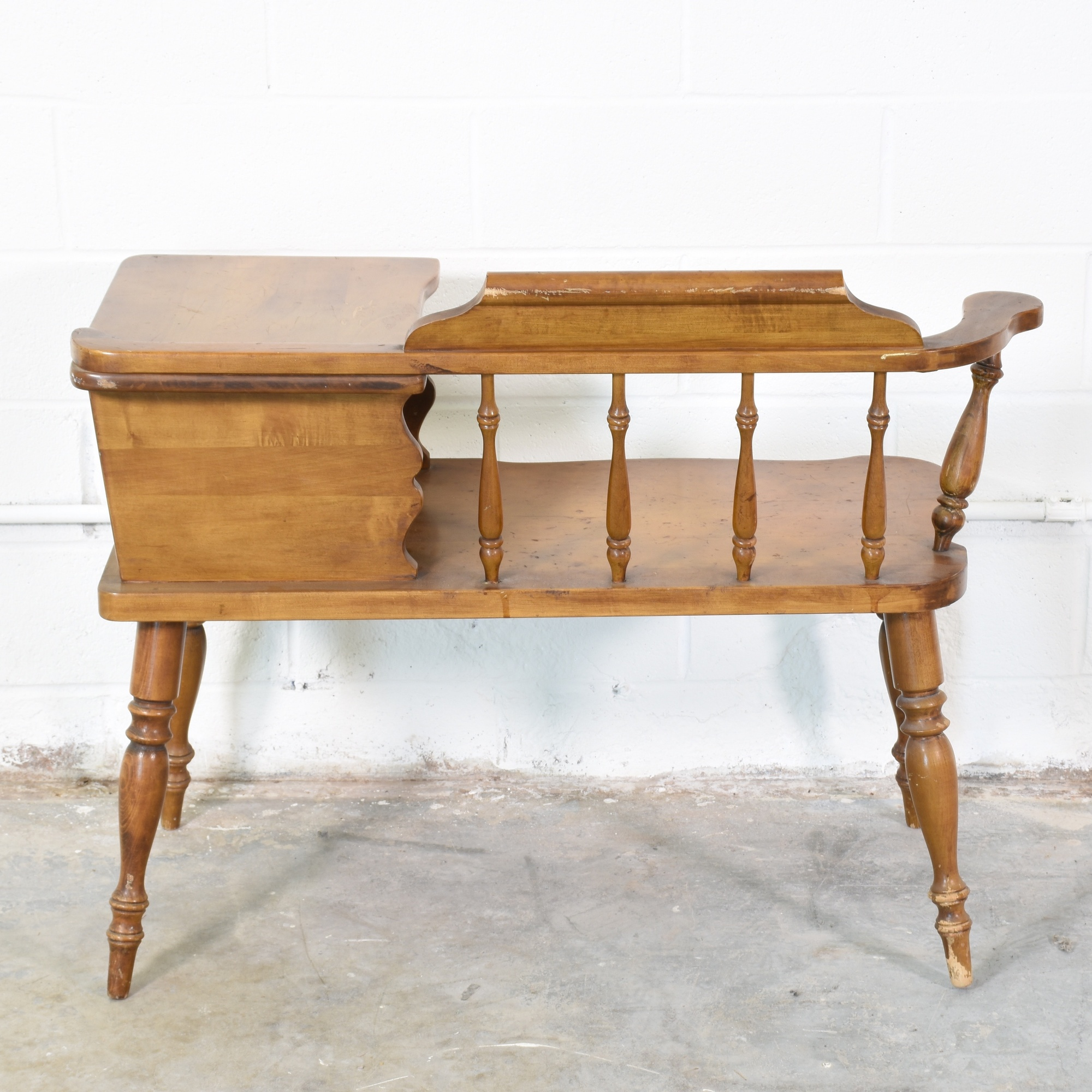 Solid Wood Gossip Bench Loveseat Vintage Furniture San Diego Los Angeles